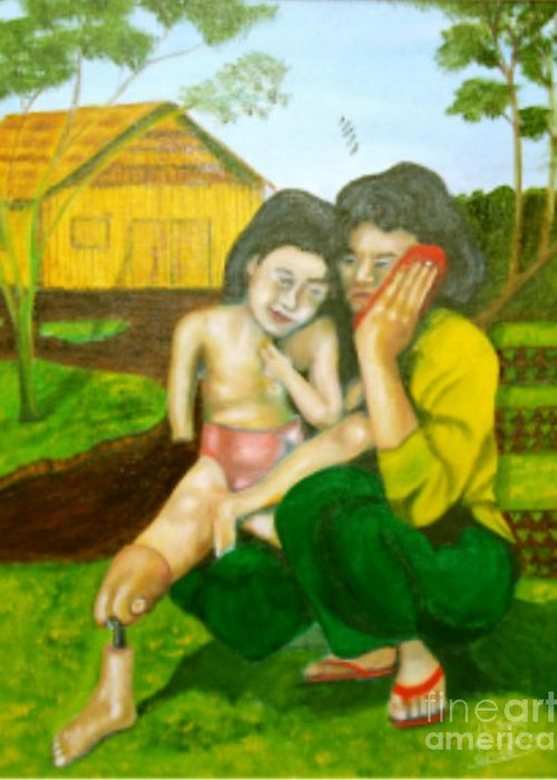 Cambodia Greeting Card featuring the painting Butterfly by Neil Trapp