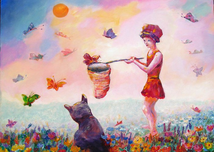 Child Greeting Card featuring the painting Butterfly Power by Naomi Gerrard