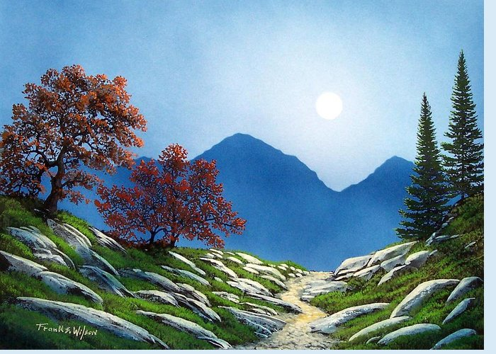 Landscape Greeting Card featuring the painting By The Light Of The Moon by Frank Wilson