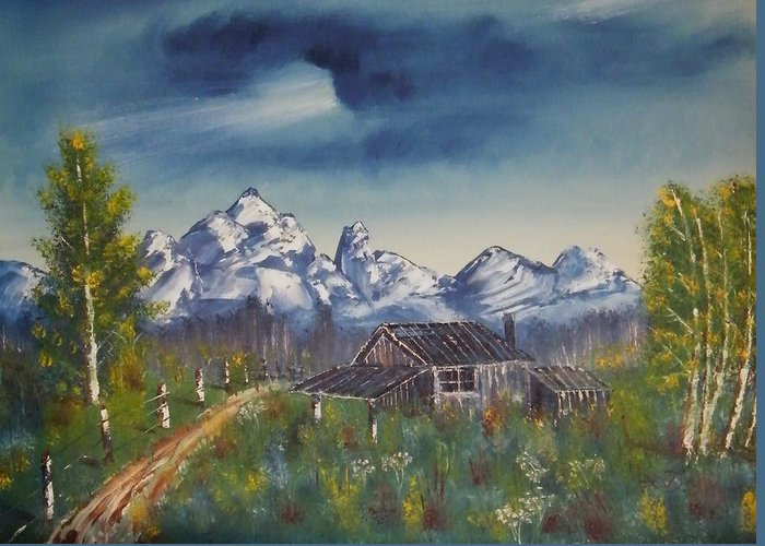 Greeting Card featuring the painting Cabin by Larry Doyle
