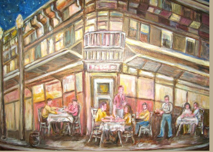 Outdoor Cafe People Eating Outdoors Greeting Card featuring the painting Cafe by Joseph Sandora Jr