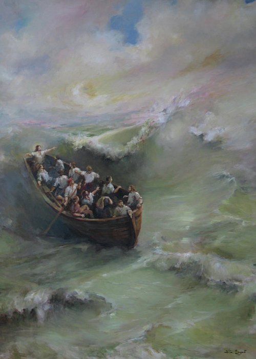 Calming The Storm Greeting Card featuring the painting Calming The Storm by Tigran Ghulyan