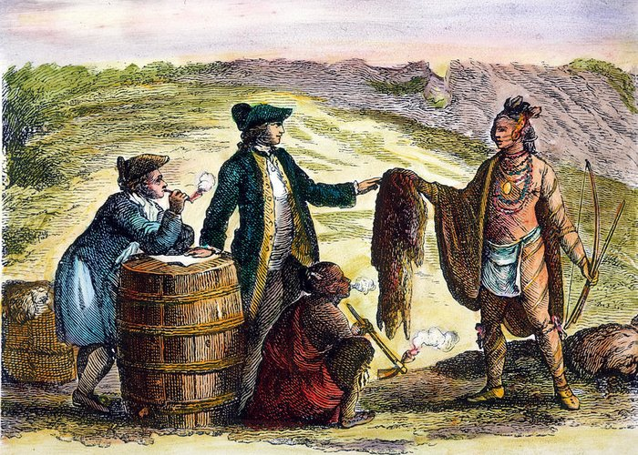 1777 Greeting Card featuring the photograph Canada: Fur Traders, 1777 by Granger