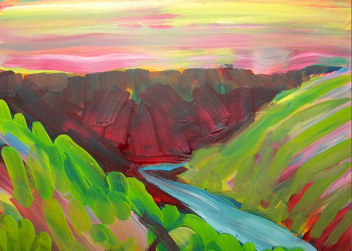Southwest Greeting Card featuring the painting Canyon Dreams 8 by Pam Van Londen