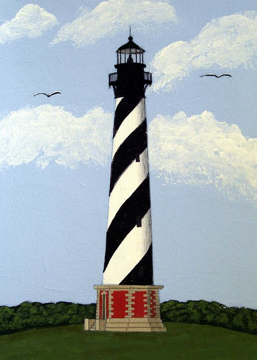 Lighthouse Paintings Greeting Card featuring the painting Cape Hatteras Lighthouse by Frederic Kohli
