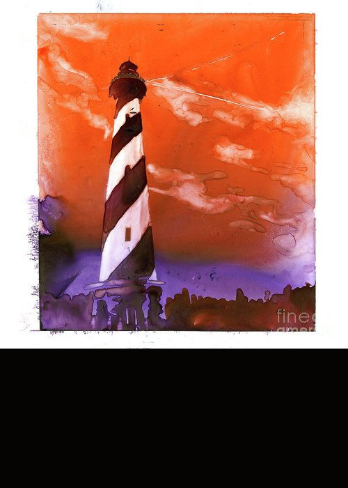 Lighthouse Greeting Card featuring the painting Cape Hatteras Lighthouse by Ryan Fox