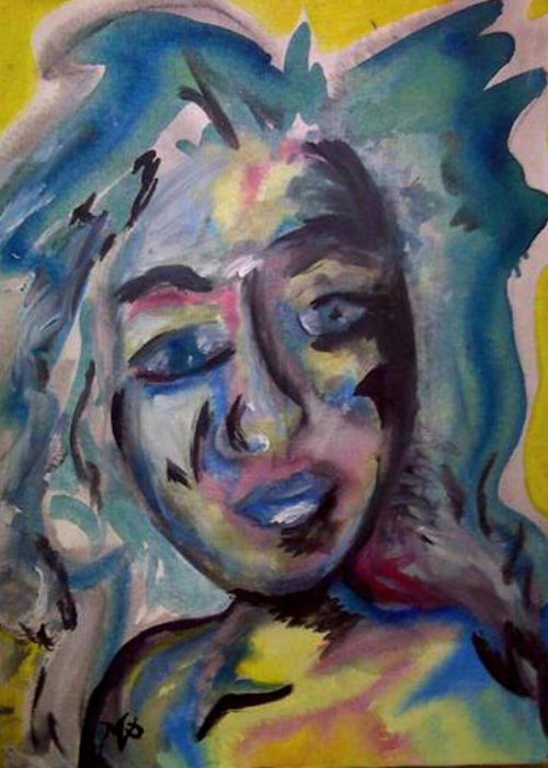 Watercolor Greeting Card featuring the painting Cara by Misty VanPool