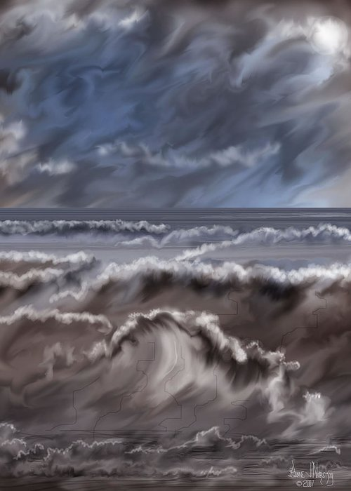 Seascape Greeting Card featuring the painting Caramel Seas by Anne Norskog