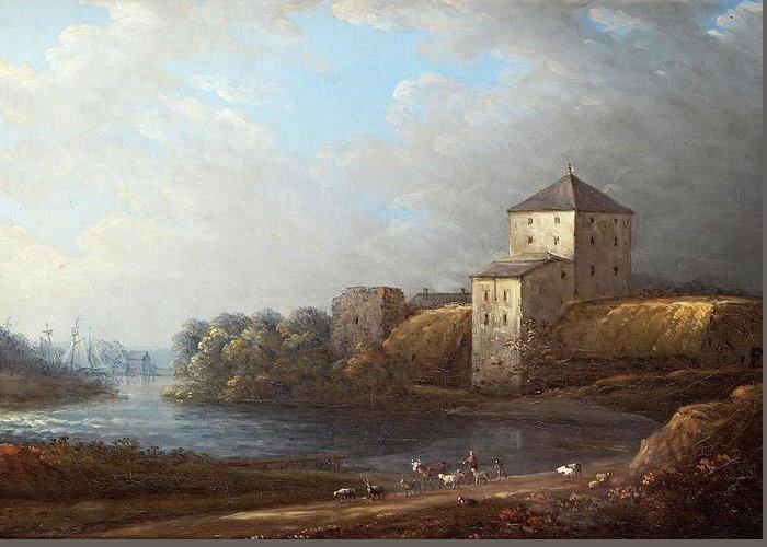 Carl Johan Fahlcrantz (1779-1861)-'nyköpings Castle'-oil On Canvas Greeting Card featuring the digital art Carl Johan by Mark Carlson