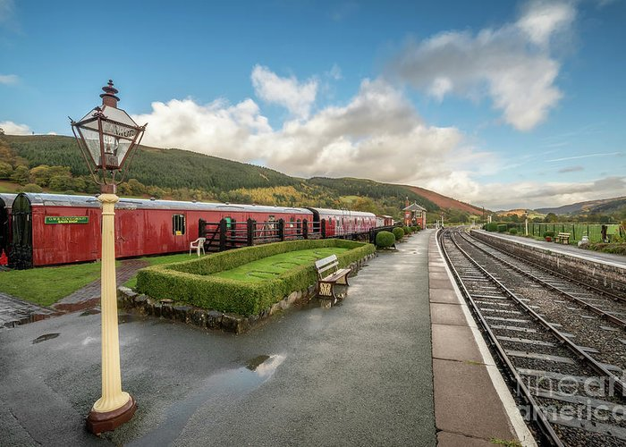 Rail Greeting Card featuring the photograph Carrog Railway Station by Adrian Evans