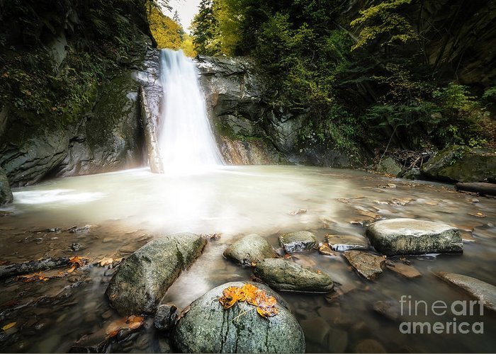 #waterfall #nature #season #motion #rocks #water #forest #autumn #landscape Greeting Card featuring the photograph Casoca Waterfall by Constantin Carip