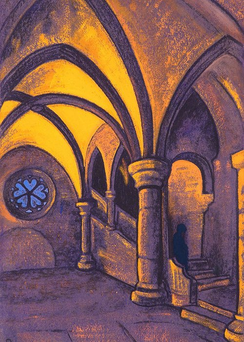Architectural Greeting Card featuring the painting Castle by Nicholas Roerich