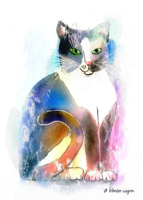 Cat Greeting Card featuring the mixed media Cat Of Many Colors by Arline Wagner