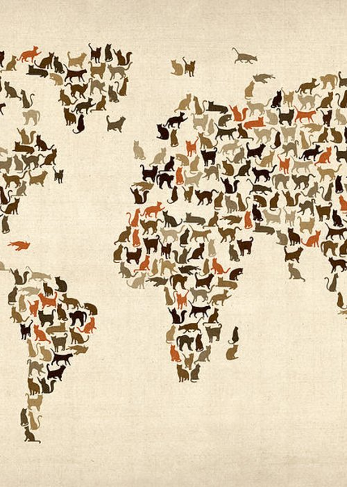 World Map Greeting Card featuring the digital art Cats Map Of The World Map by Michael Tompsett