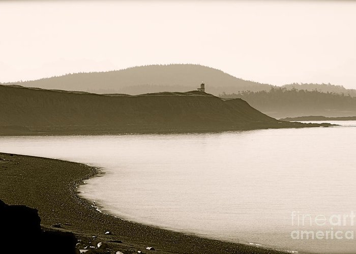 Lighthouse Greeting Card featuring the photograph Cattle Point Lighthouse San Juan Island by Sandy Buckley