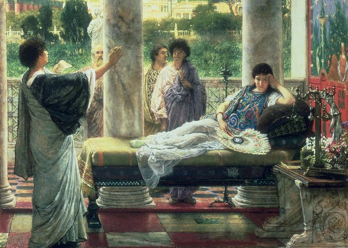 Catullus Greeting Card featuring the painting Catullus Reading His Poems by Sir Lawrence Alma-Tadema