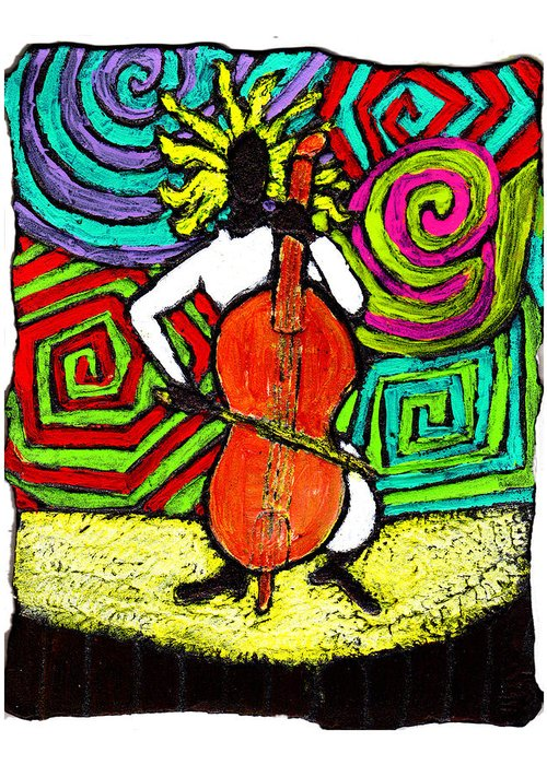 Music Greeting Card featuring the painting Cello Soloist by Wayne Potrafka