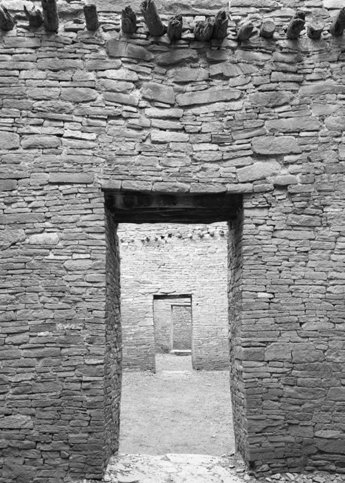 Pueblo Bonito Greeting Card featuring the photograph Chaco Canyon Doorways 1 by Carl Amoth