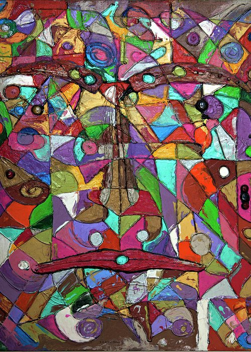 Abstract Art Greeting Card featuring the painting Chameleon by Erika Avery