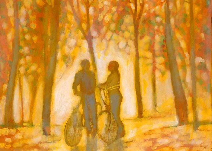 Romance Greeting Card featuring the painting Chance Encounter by Kip Decker