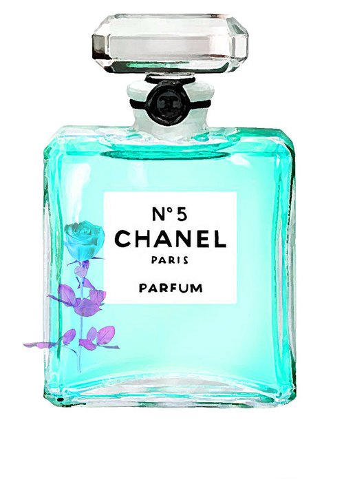 Chanel Poster Greeting Card featuring the painting Chanel Perfume Turquoise Chanel Poster Chanel Print by Del Art