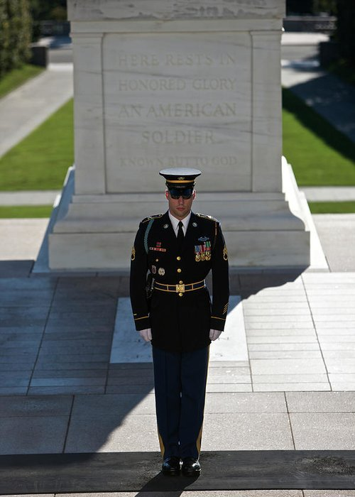 Vertical Greeting Card featuring the photograph Changing Of Guard At Arlington National by Terry Moore