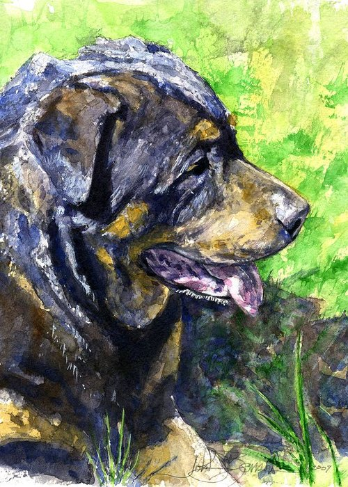 Rottweiler Greeting Card featuring the painting Chaos by John D Benson