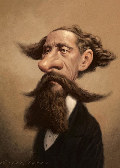 Charles Dickens Greeting Card featuring the painting Charles Dickens by Court Jones