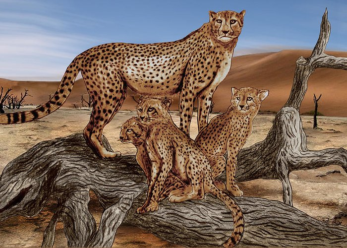 Cheetah Family Tree Greeting Card featuring the drawing Cheetah Family Tree by Peter Piatt