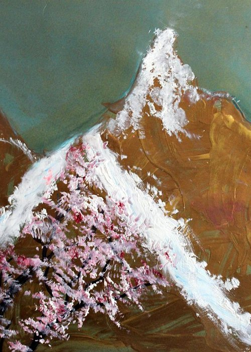 Landscape Greeting Card featuring the painting Cherry Blossoms On Gold Mountain by Michela Akers