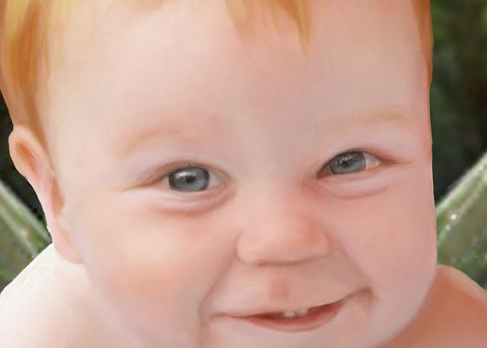 Greeting Card featuring the painting Cherubic by Jennifer Hickey