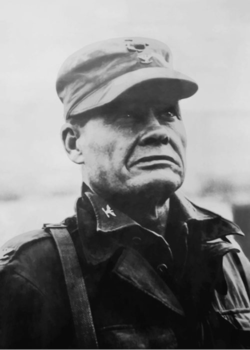 Chesty Puller Greeting Card featuring the painting Chesty Puller 1 by War Is Hell Store