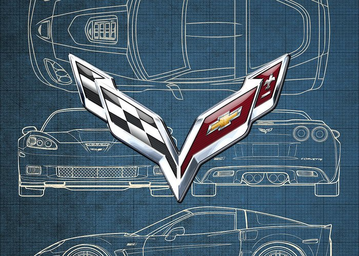 �wheels Of Fortune� By Serge Averbukh Greeting Card featuring the photograph Chevrolet Corvette 3 D Badge Over Corvette C 6 Z R 1 Blueprint by Serge Averbukh