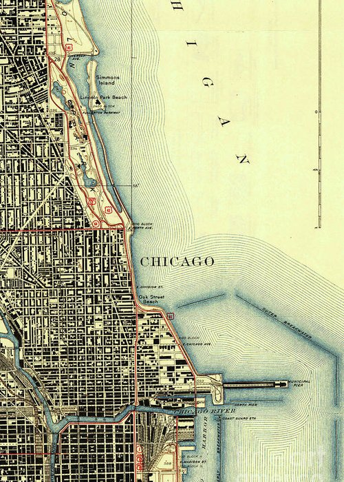 Chicago Old Map Greeting Card featuring the drawing Chicago Old Map by Drawspots Illustrations