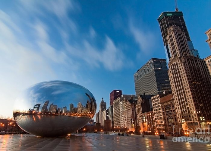 Chicago Skyline Greeting Card featuring the photograph Chicago Skyline And Bean At Sunrise by Sven Brogren