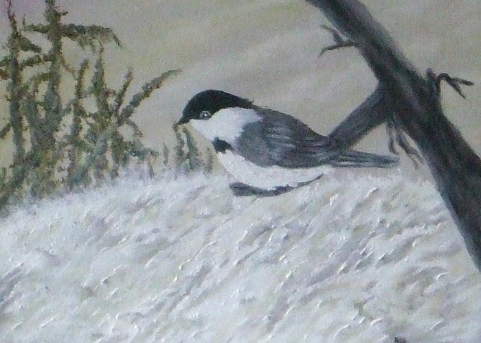 Chickadee Greeting Card featuring the painting Chickadee by Rebecca Fitchett