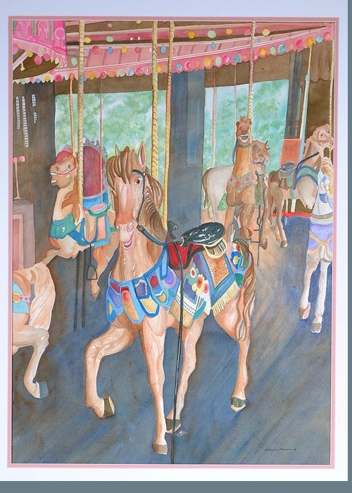 Carousel Greeting Card featuring the painting Childhood Memories by Rebecca Marona