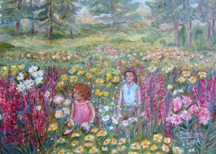 Flowers Children Field Trees Greeting Card featuring the painting Children Amongst Flowers by Joseph Sandora Jr
