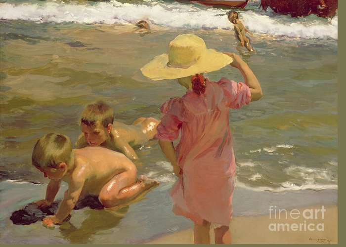 Beach;play;child;girl;boy;summer;sea Greeting Card featuring the painting Children On The Seashore by Joaquin Sorolla y Bastida