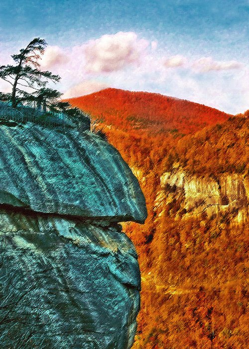 Landscape Greeting Card featuring the painting Chimney Rock by Steve Karol