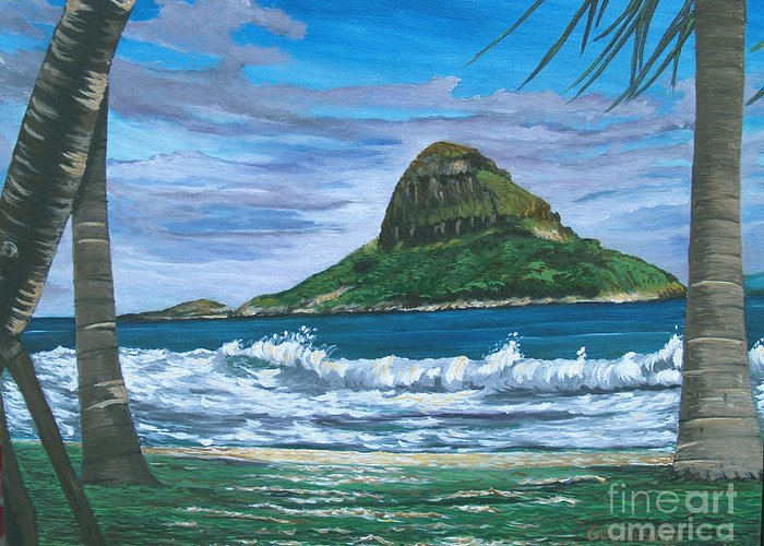 Island Greeting Card featuring the painting China Man's Hat by Larry Geyrozaga