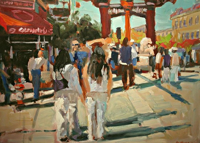 Chinatown Greeting Card featuring the painting Chinatown by Brian Simons