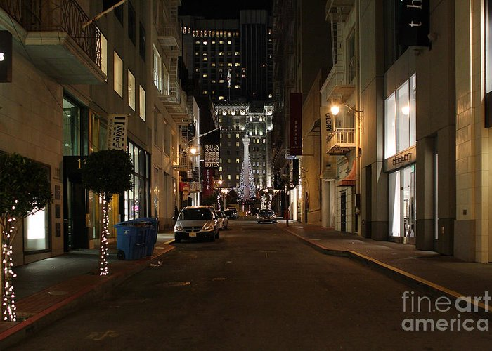 Cityscape Greeting Card featuring the photograph Christmas Eve 2009 On Maiden Lane In San Francisco by Wingsdomain Art and Photography