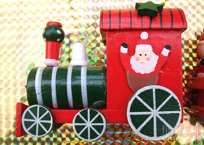 Carriage Greeting Card featuring the photograph Christmas Train by Deborah Brewer