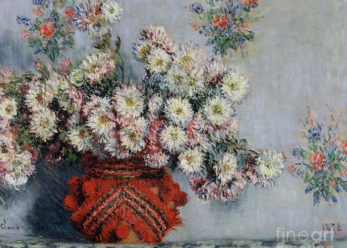 Chrysanthemums Greeting Card featuring the painting Chrysanthemums by Claude Monet