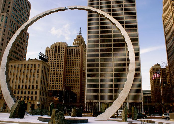 Detroit Greeting Card featuring the photograph Circle Of Labor by Sonja Anderson