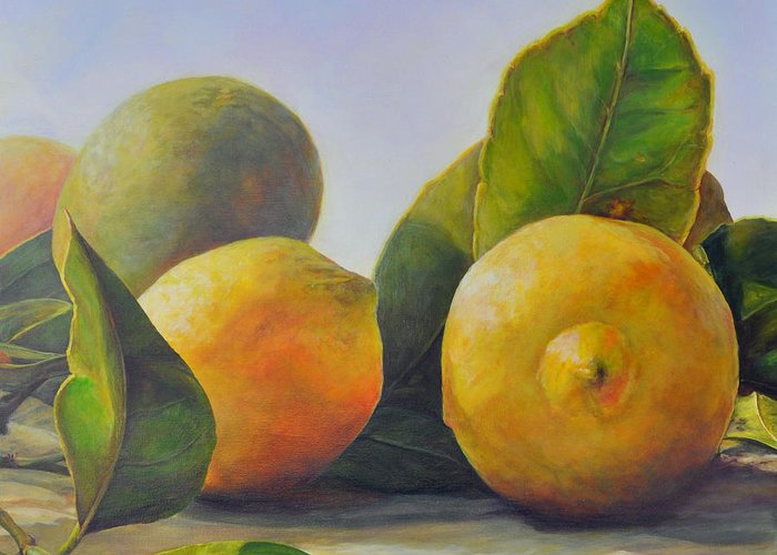 Acrylic Painting Greeting Card featuring the painting Citrons by Muriel Dolemieux