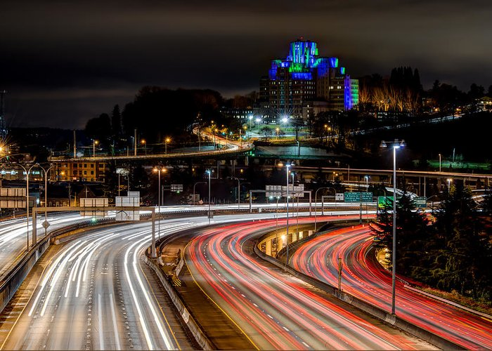 Seattle Greeting Card featuring the photograph City Lights #6 by Rick Wong