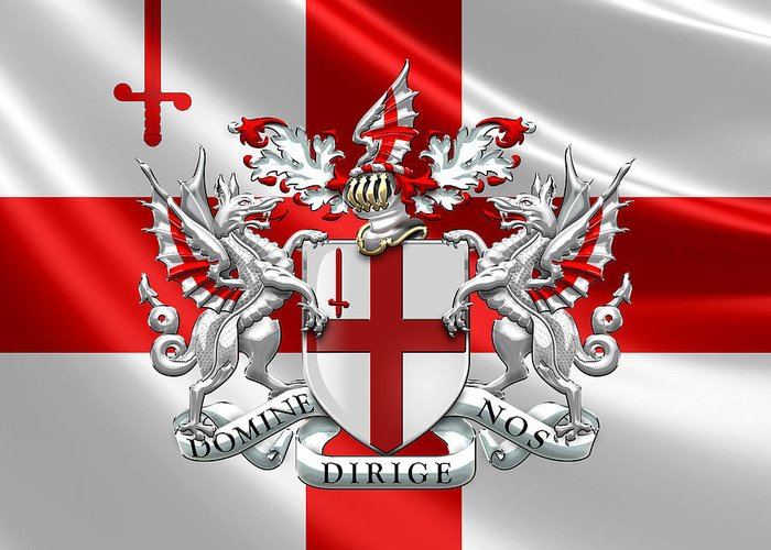 World Heraldry By Serge Averbukh Greeting Card featuring the photograph City of London - Coat of Arms over Flag by Serge Averbukh