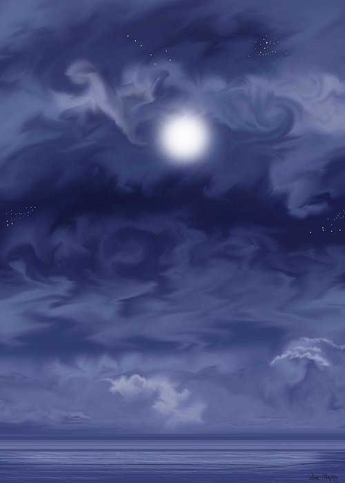 Moon Greeting Card featuring the painting Cobalt by Anne Norskog